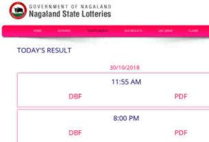 Nagaland Lottery Result 8/11/2018 - 11.55 AM