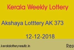 Akshaya AK 373 Lottery Today Result 12.12.2018