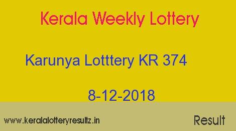 Karunya Lottery KR 374 Result 8/12/2018