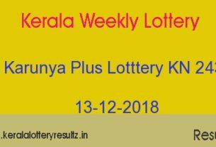 Karunya Plus Lottery KN 243 Result 13-12-2018