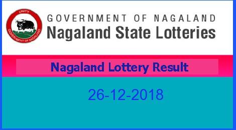 Nagaland Morning Lottery Result 26.12.2018 (11.55 AM)