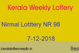 Nirmal Lottery NR 98 Result Today 7.12.2018