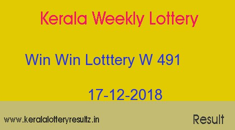 Win Win Lottery W 491 Result 17.12.2018