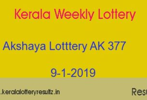 Akshaya AK 377 Lottery Today Result 9.1.2019