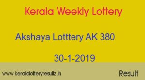Akshaya AK 380 Lottery Today Result 30.1.2019