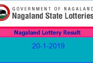 Nagaland Lottery Result 20.1.2019 (8 pm)