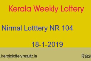 Nirmal Lottery NR 104 Result Today 18/1/2019