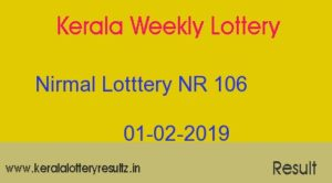 Nirmal Lottery NR 106 Result Today 01/02/2019