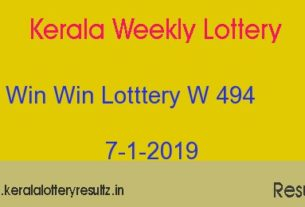Win Win Lottery W 494 Result 7.1.2019