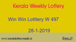 Win Win Lottery W 497 Result 28.1.2019