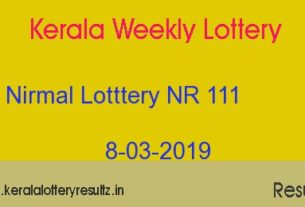 Nirmal Lottery NR 111 Result Today 8/03/2019