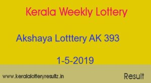 Akshaya AK 393 Lottery Today Result 1.5.2019
