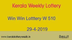 Win Win Lottery W 510 Result 29.4.2019