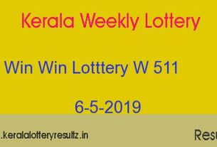 Win Win Lottery W 511 Result 6.5.2019