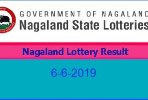 Nagaland Lottery Result 6.6.2019 (8 pm)
