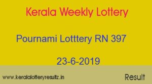Pournami Lottery RN 397 Result 23-6-2019