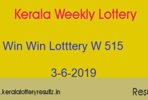Win Win Lottery W 515 Result 3.6.2019