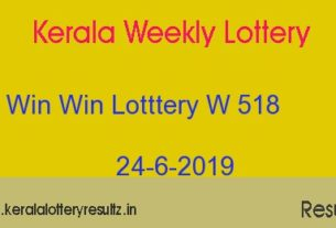 Win Win Lottery W 518 Result 24.6.2019