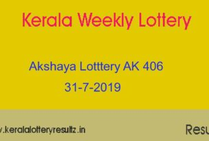 Akshaya (AK 406) Lottery Today Result 31.7.2019