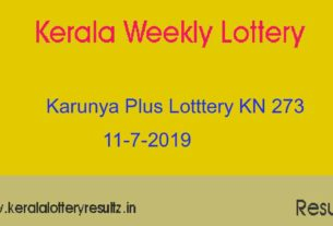 Karunya Plus Lottery KN 273 Result 11.7.2019 - Live
