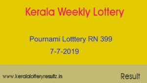 Pournami Lottery RN 399 Result 7.7.2019