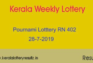 Pournami Lottery RN 402 Result 28.7.2019