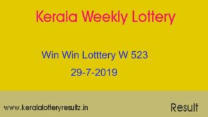Win Win Lottery W 523 Result 29-7-2019
