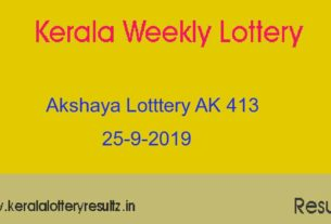 Akshaya (AK 413) Lottery Today Result 25.9.2019