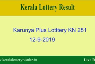Karunya Plus Lottery KN 281 Result 12.9.2019 - Live