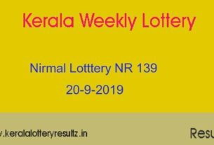 Nirmal Lottery NR 139 Result Today 20.9.2019 (Live)