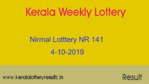 Nirmal Lottery NR 141 Result Today 4.10.2019 (Live)