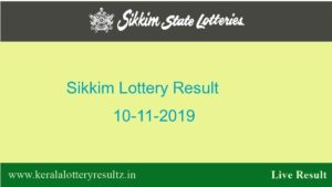 Lottery Sambad 10.11.2019 (11.55 AM) Sikkim State Lottery Result