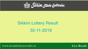 Lottery Sambad 30.11.2019 Sikkim State Lottery Result (11.55 AM)