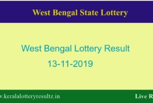 West Bengal Lottery Result 13.11.2019 (4 PM) Lottery Sambad