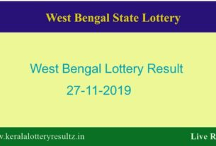 West Bengal Lottery Result 27.11.2019 (4 PM) Lottery Sambad