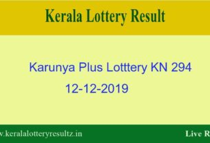 Karunya Plus Lottery KN 294 Result 12.12.2019 - Live
