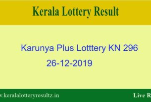 Karunya Plus Lottery KN 296 Result 26.12.2019 - Live