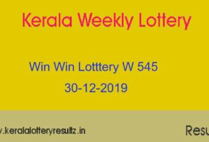 Win Win Lottery W 545 Result Today 30-12-2019 (Live)