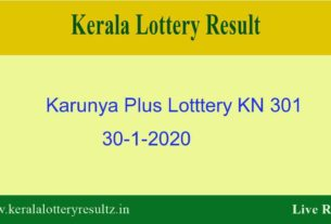 Karunya Plus Lottery KN 301 Result 30.1.2020 - Live
