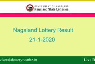 Nagaland Lottery Result 21.1.2020 (8 PM) - Lottery Sambad Result Today
