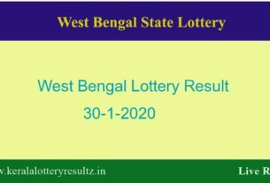 West Bengal Lottery Result 30.1.2020 (4 PM) Lottery Sambad