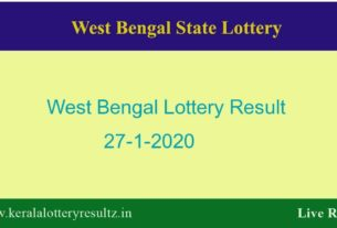 West Bengal State Lottery Result 27.1.2020 (4 PM) - Lottery Sambad