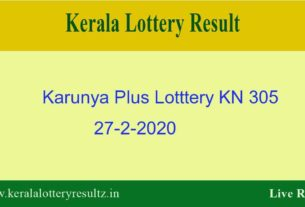 Karunya Plus Lottery KN 305 Result 27.2.2020 - Live