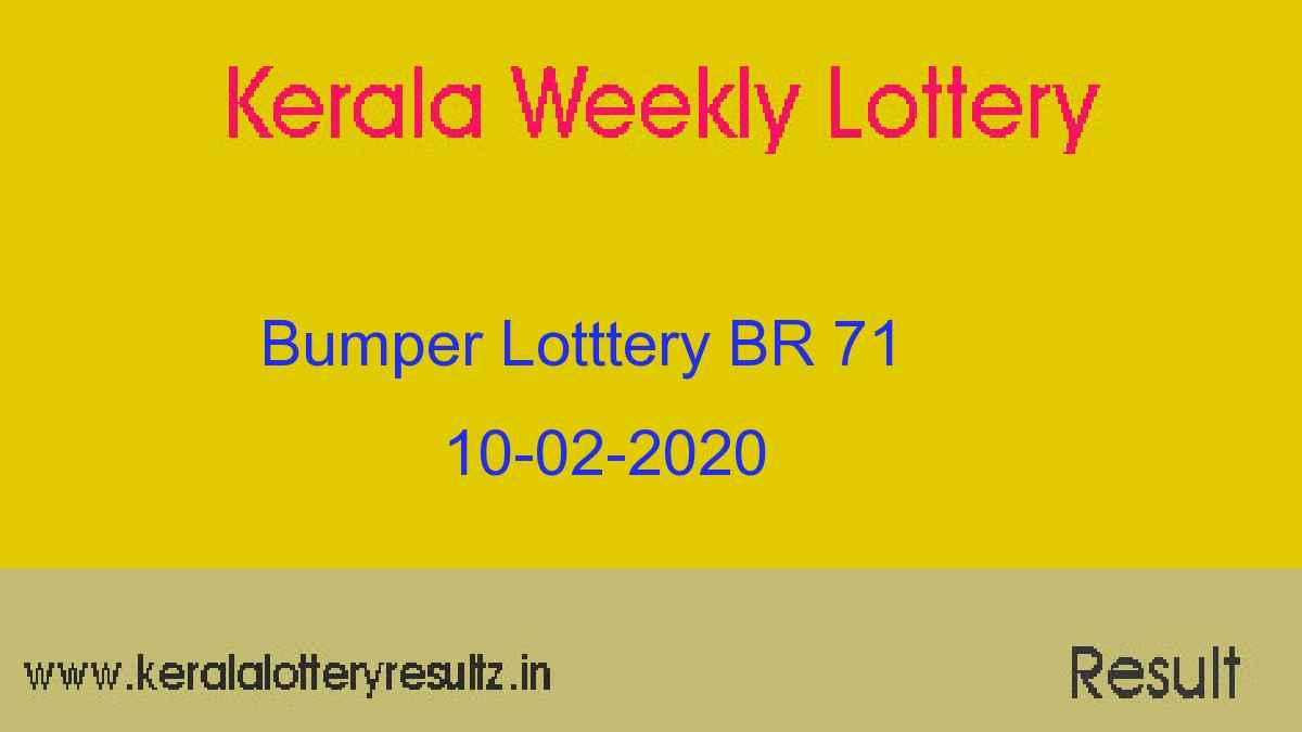 New Year Bumper - BR 71 Result 10.02.2020 - Kerala Lottery