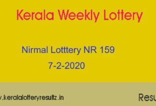 Nirmal Lottery NR 159 Result Today 7.2.2020 (Live)
