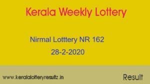 Nirmal Lottery NR 162 Result Today 28.2.2020 (Live)