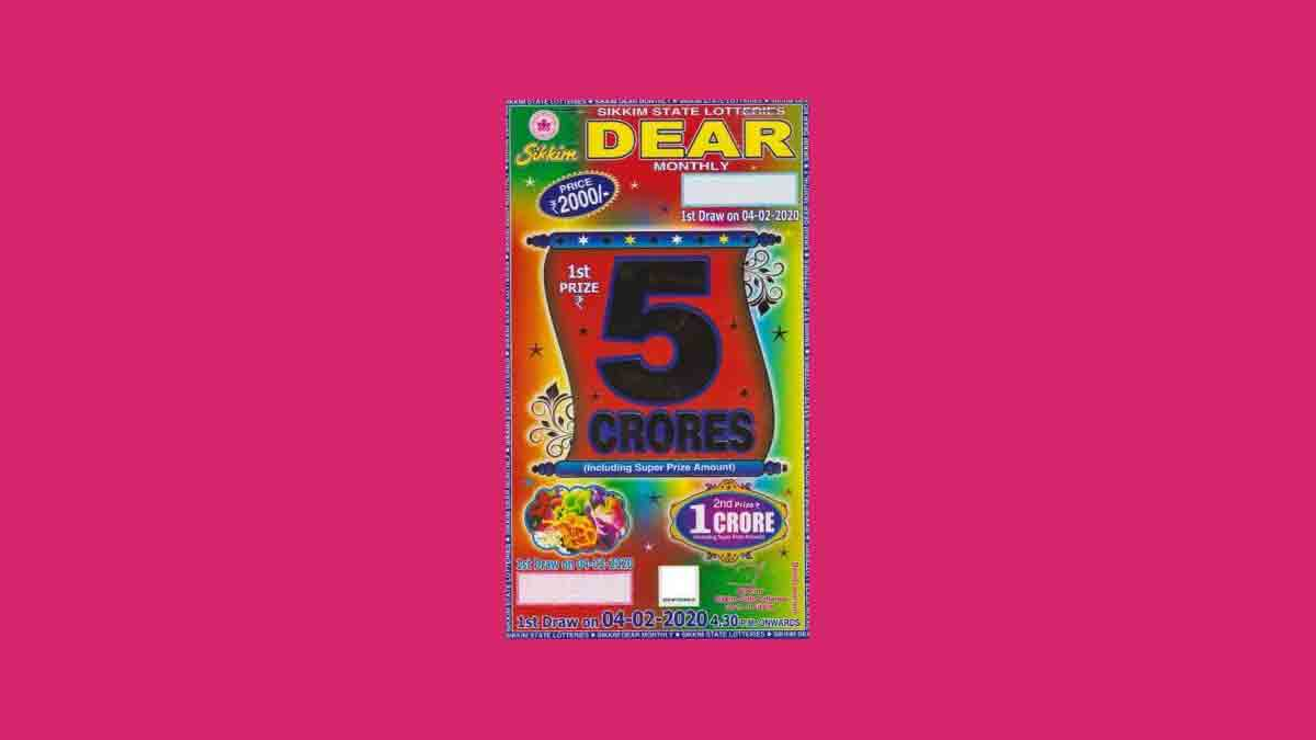 Sikkim Dear Monthly Lottery Result