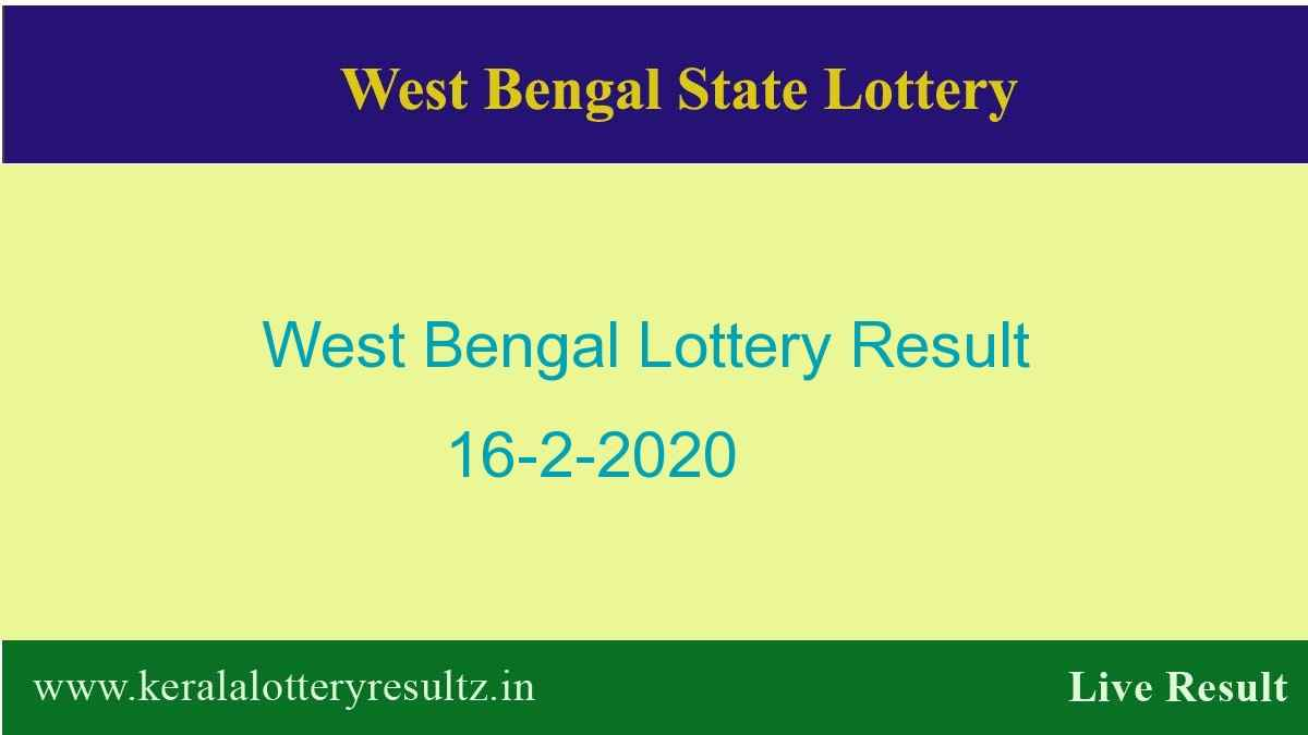 West Bengal State Lottery Result 16.2.2020 (4 PM) Lottery Sambad