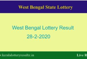 West Bengal State Lottery Result 28.2.2020 (4 PM) Lottery Sambad