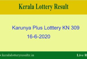 Karunya Plus Lottery KN 309 Result 16.6.2020 Live